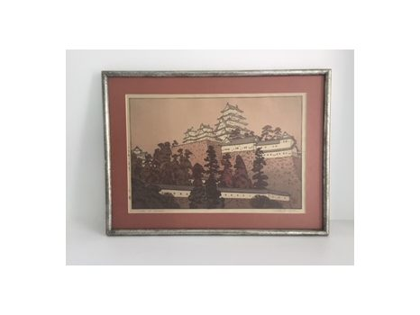 """Castle at Himeji"" Woodcut Color Print"