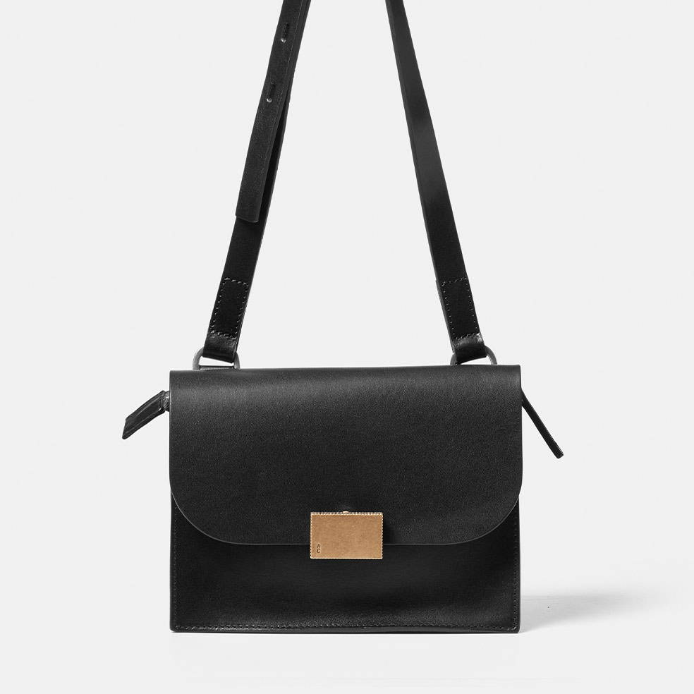 Lockie Boundary Leather Crossbody Lock Bag in Black