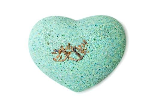 """Зелено-голубая бомбочка """"сердце"""" для ванны """"Лаванда и Мята"""""""