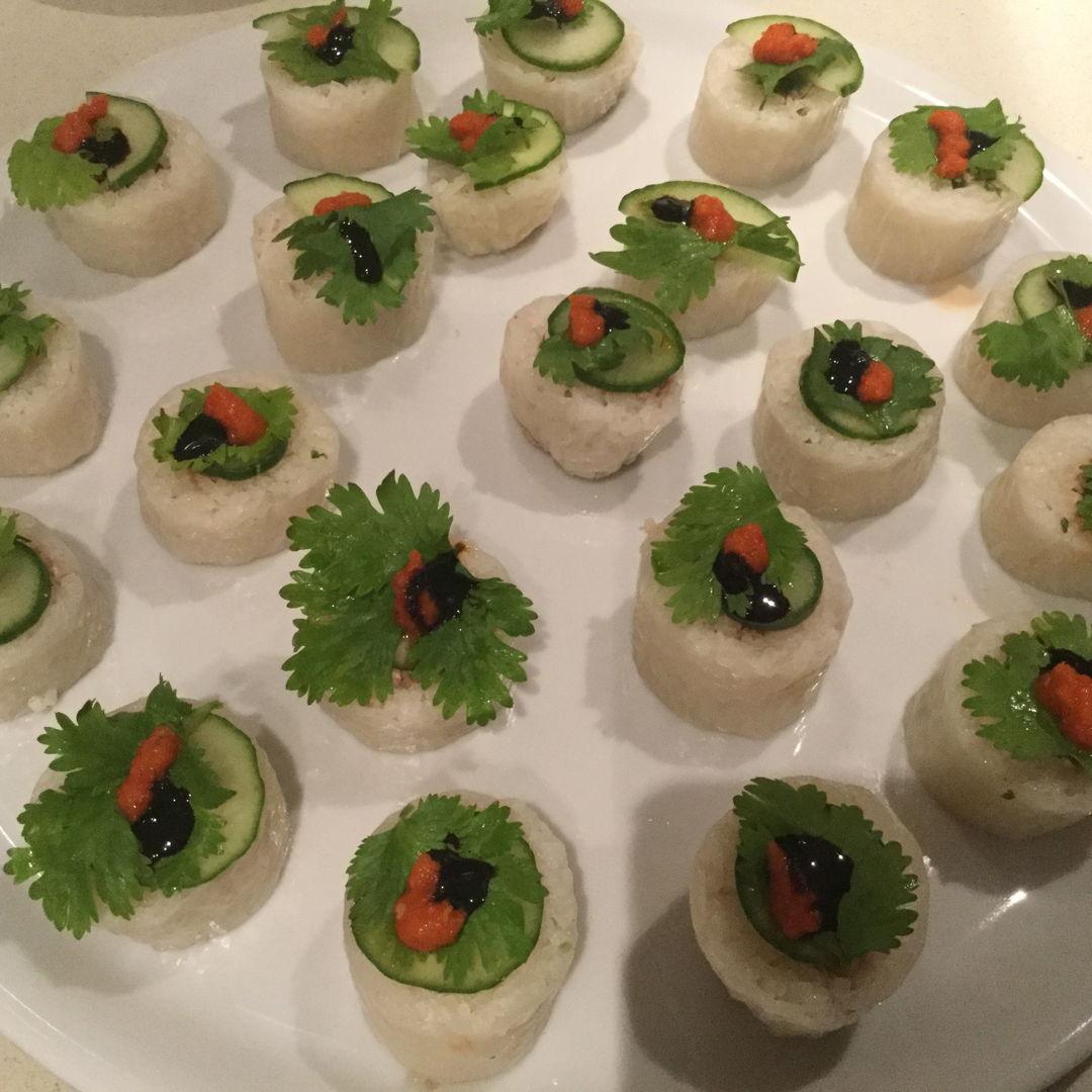 Chicken rice maki style.