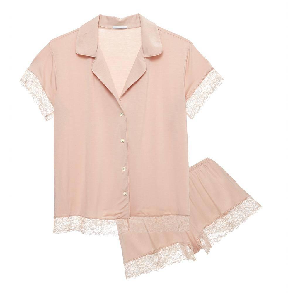 Eberjey Malou lace short sleeve pajama set