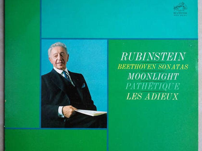 RCA Shaded Dog/Rubinstein/Beethoven - Sonatas Moonlight, Pathetique, Les Adieux / EX