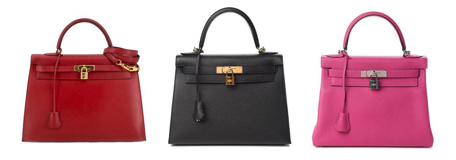 Hermes Kelly bags in 3 colors