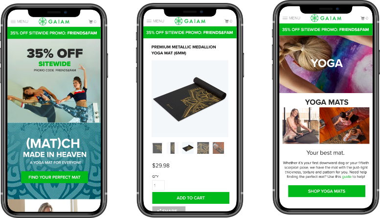 Gaiam website on mobile devices