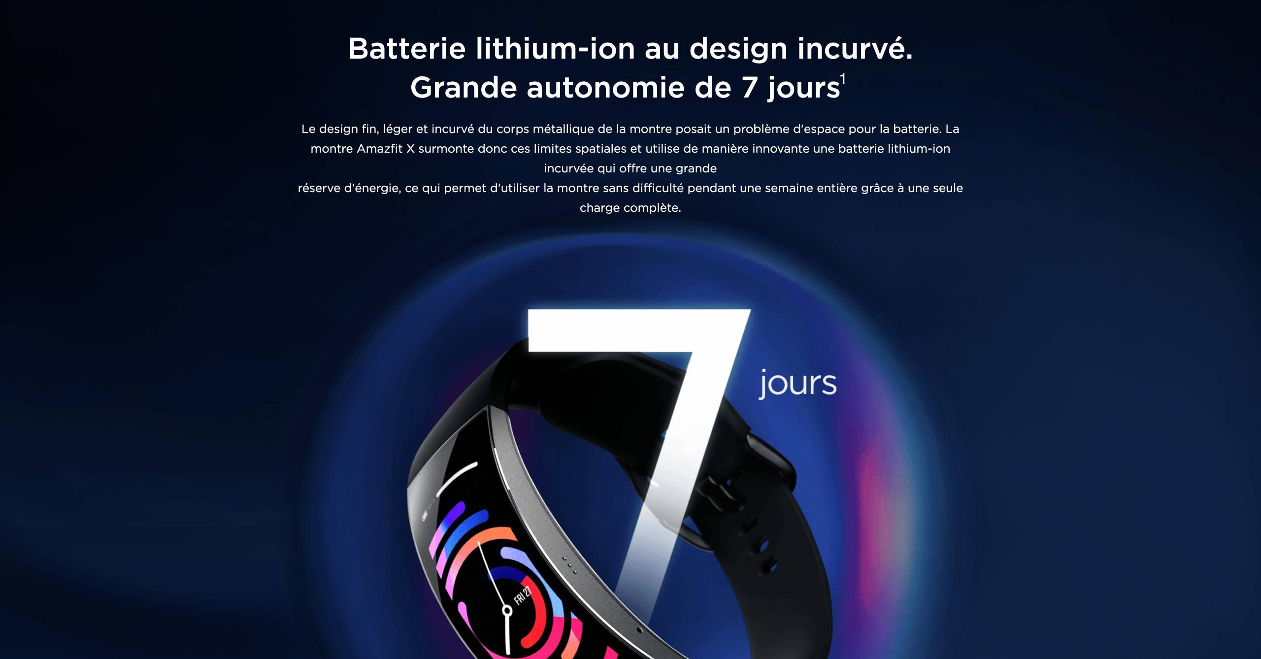 Amazfit X - Batterie lithium-ion au design incurvé. Grande autonomie de 7 jours