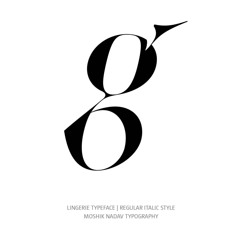 Lingerie Typeface Regular Italic g - Fashion fonts by Moshik Nadav Typography