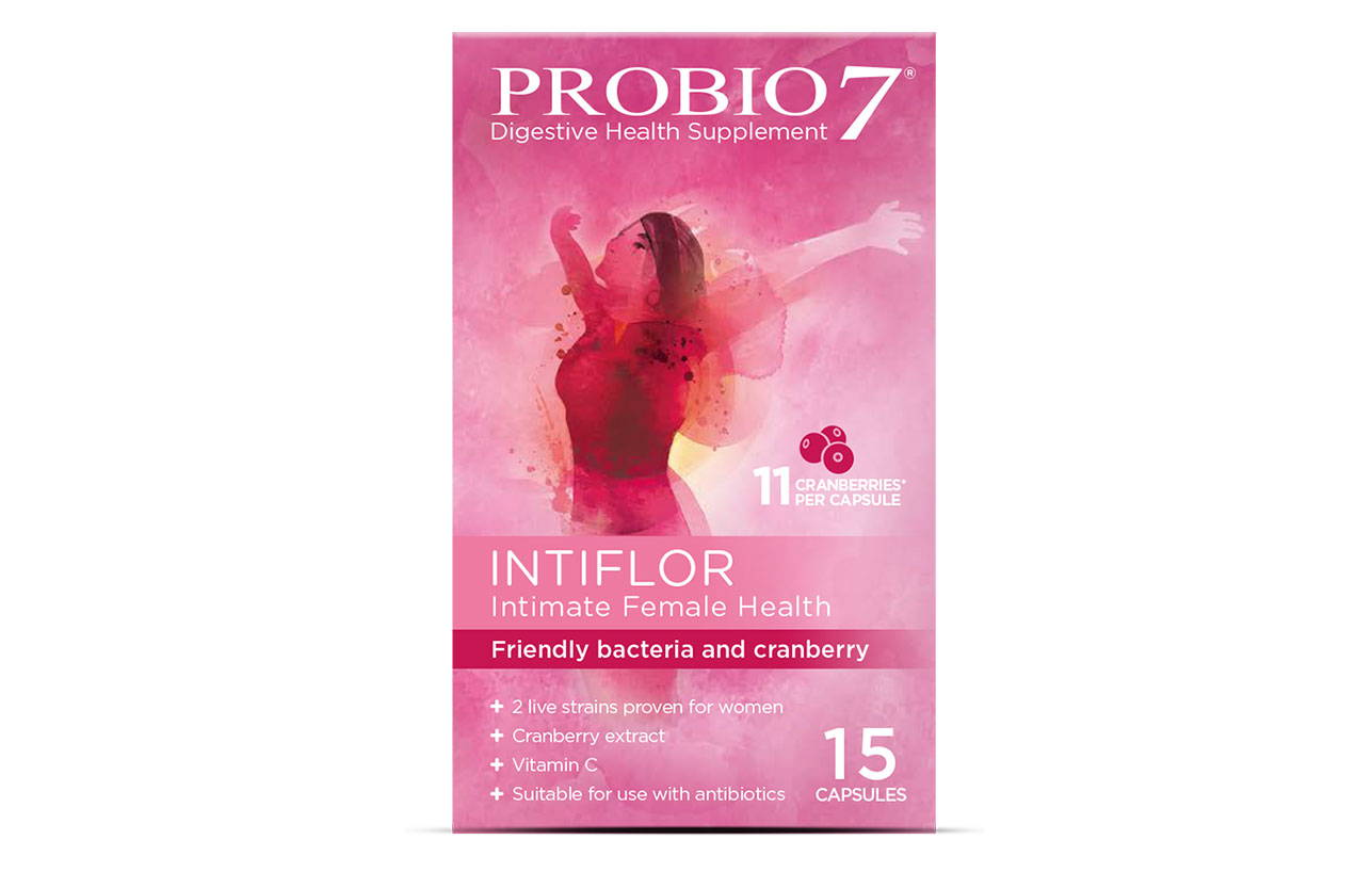 Probio7 Intiflor. For female intimate health, each capsule provides friendly bacteria, cranberry extract and vitamin C to re-establish and maintain the female microbiome.
