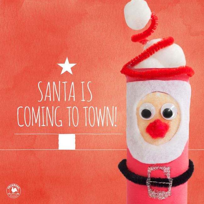 Santa is coming to town poster featuring a DIY Santa made from a paper towel roll