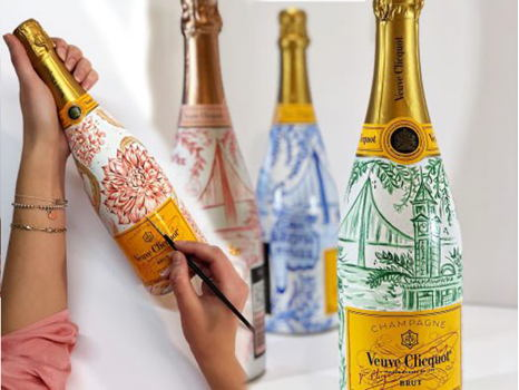 Bottoms Up!  Custom Painted Bottle of Veuve Clicquot
