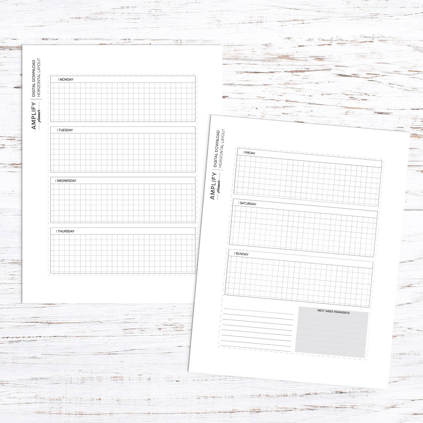 amplify planner weekly horizontal layout