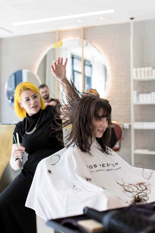 Rob Peetoom stylist Linda hard at work
