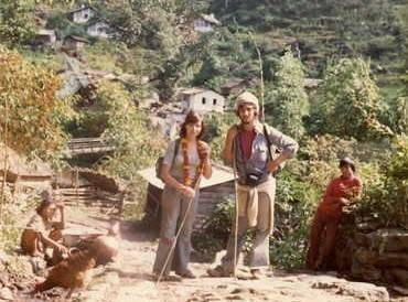 Richard & Marion on their early travels on the Jomoson trek in Nepal