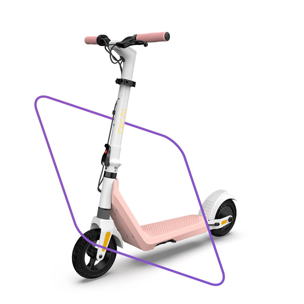 Okai Electric Scooter & Electric Bike Manufacturer, ES50 Electric Scooter pink front view