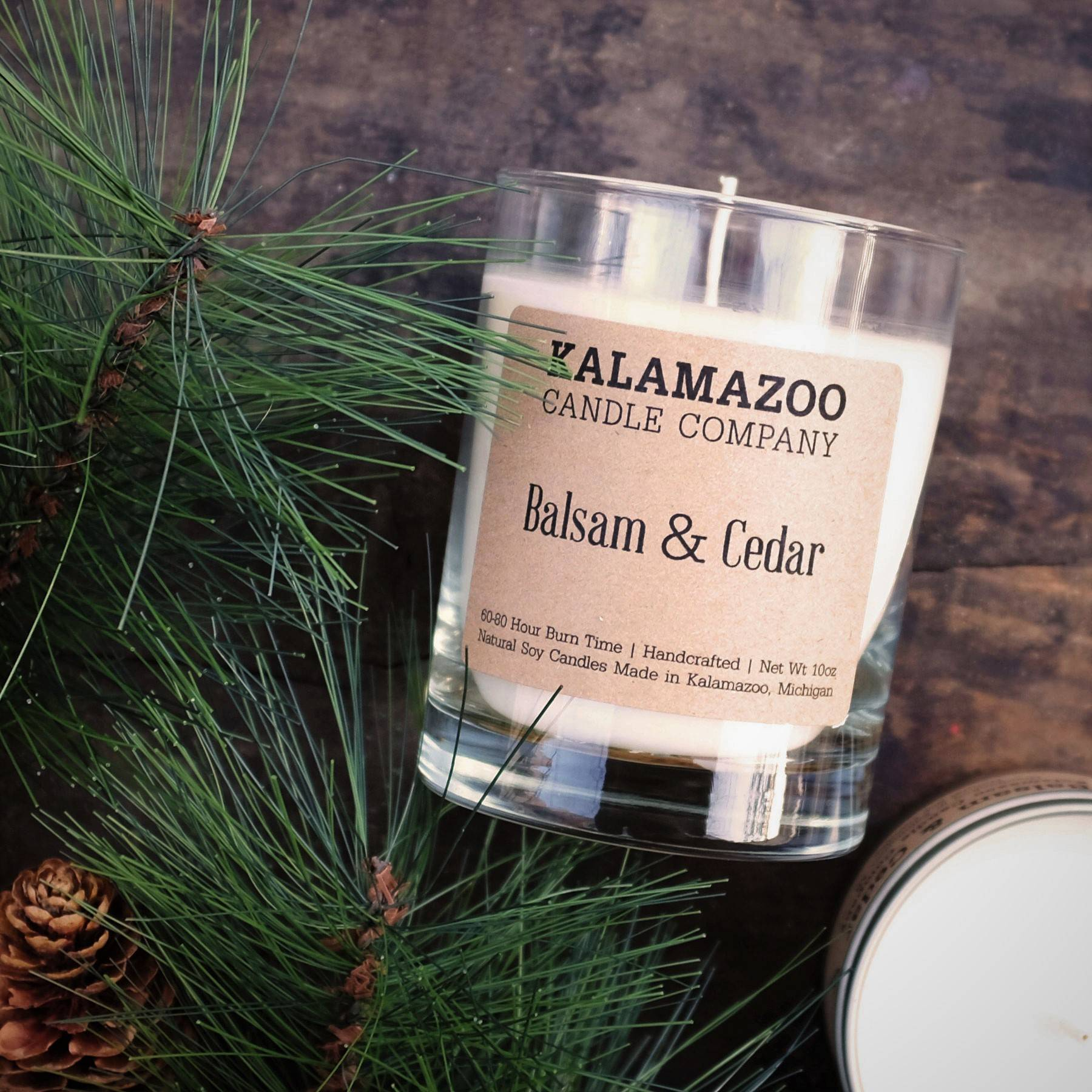 Balsam and Cedar natural soy wax scented candle