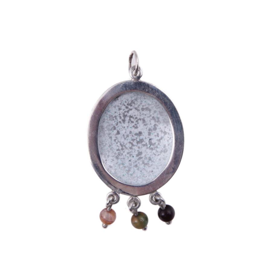 Серебряная подвеска с монограммой Т и разноцветными турмалинами
