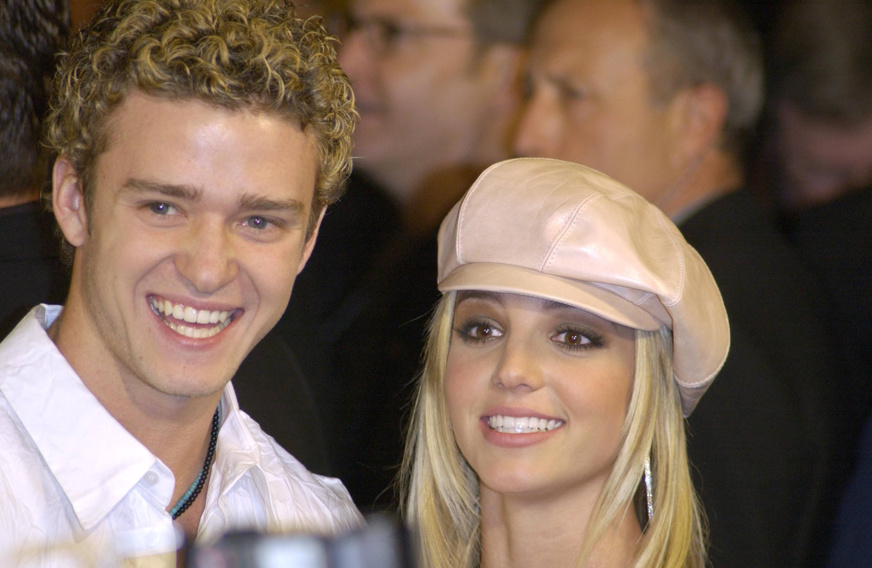 Britney Spears smiling with Justin Timberlake