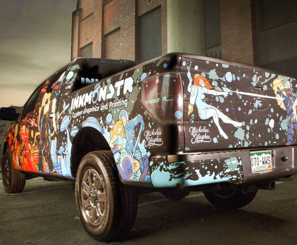 Vinyl Vehicle Wraps - Ink Monstr Black Truck Wrap