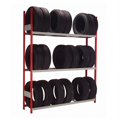 Rousseau red post and grey beams tire racks