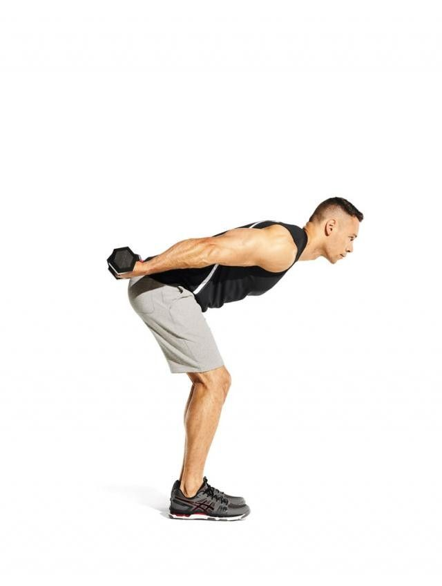 extend your elbows and raise the weights