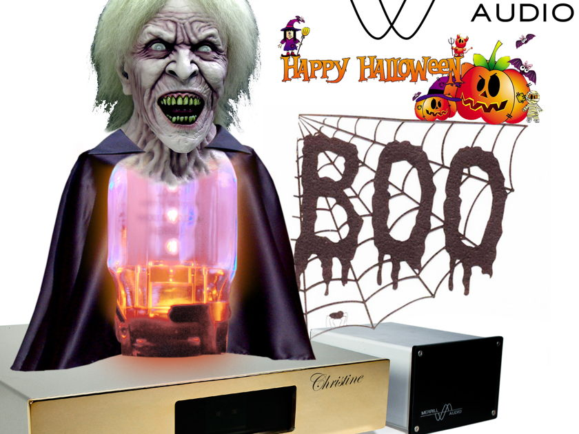 Merrill Audio BOO Christine Reference Pre Amplifier Here in Her Halloween costume!! Happy Halloween :)