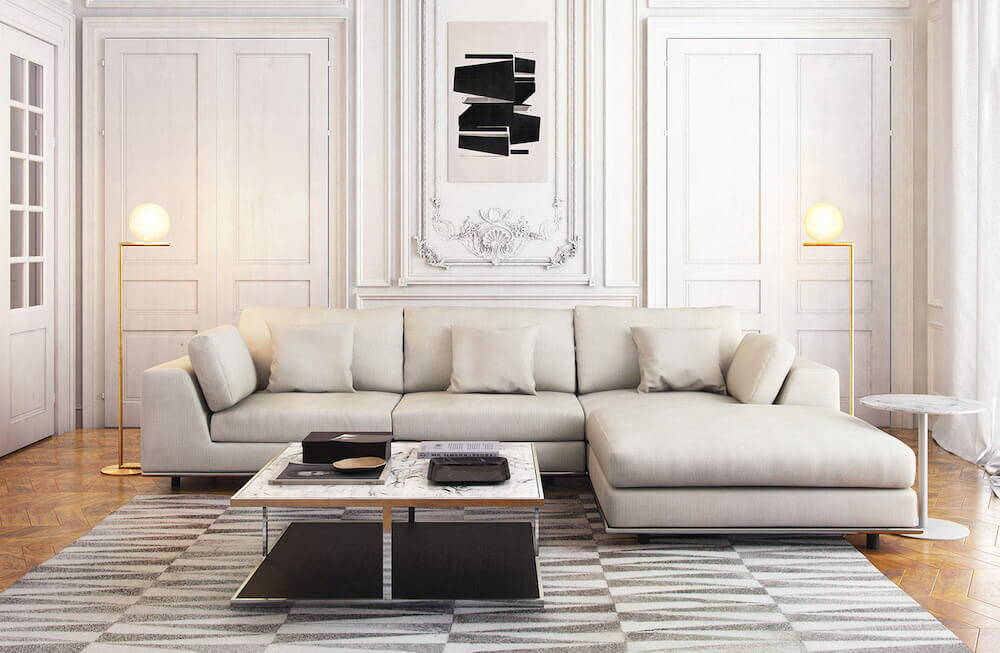 Modloft Perry 3 Seater Sofa, featured in Moonbeam