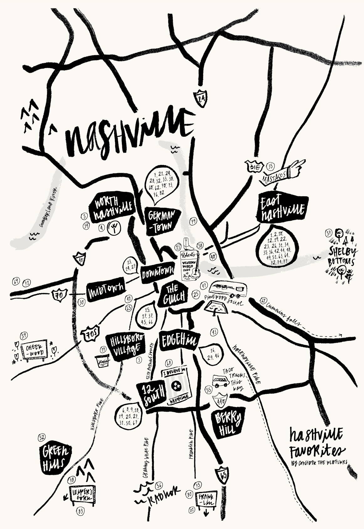 CTWF Nashville Favorites Map