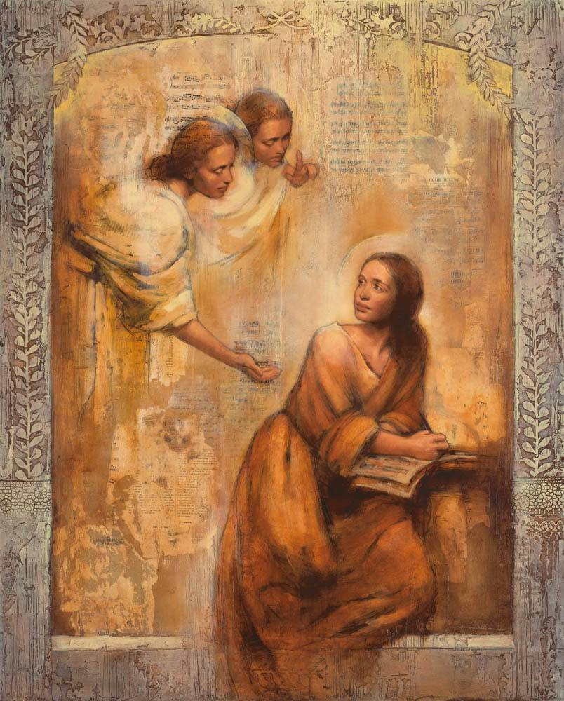 LDS art painting of angels approaching a young woman who is reading the scriptures.
