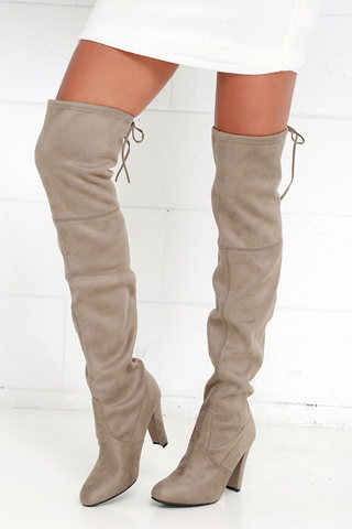 Cerco Corteza excepto por  Steve Madden Gorgeous Taupe Suede Over the Knee Boots Review - Slant
