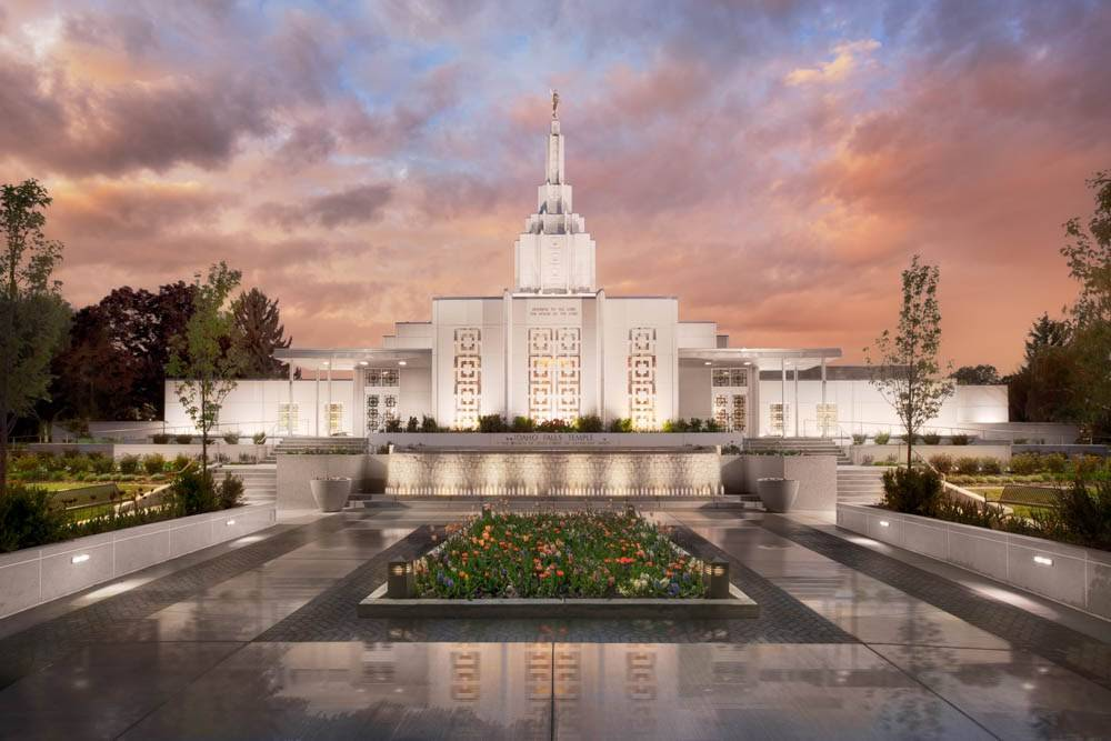 Idaho Falls Temple after rainfall.