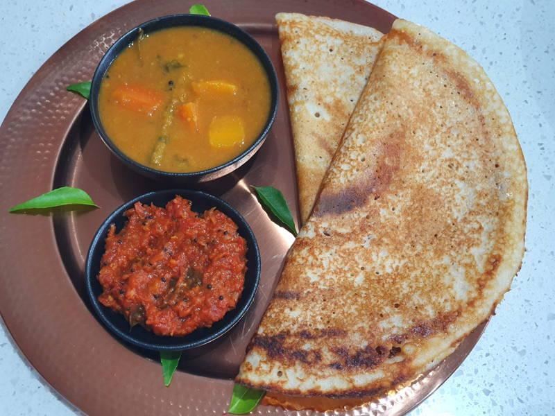 Dosa, Sambar and Tomato Chutney