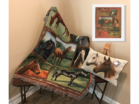 Rustic Horse Throw and Matching Cushion