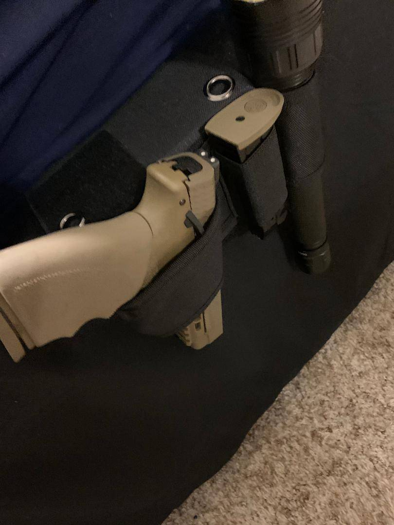 under bed gun holster, mattress gun holster, bed frame gun holster
