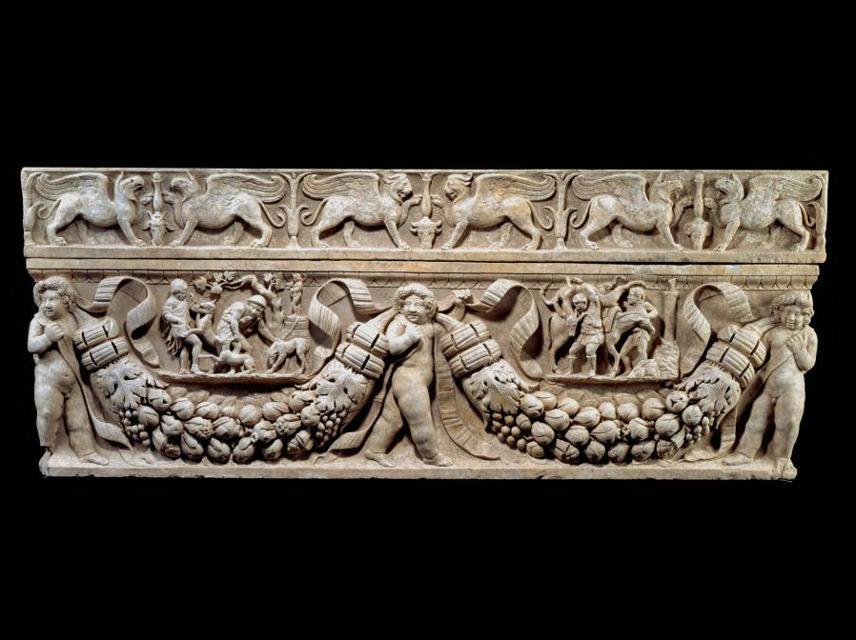 Garland Sarcophagus with Hunting Scenes