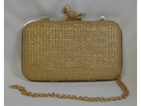 Gold Raffia Minaudiere with Parrot Motif