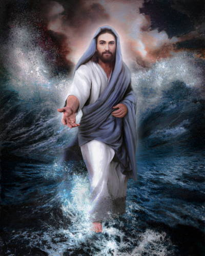 Painting of Jesus Christ walking on a stormy sea with His hand is stretched out toward the viewer.
