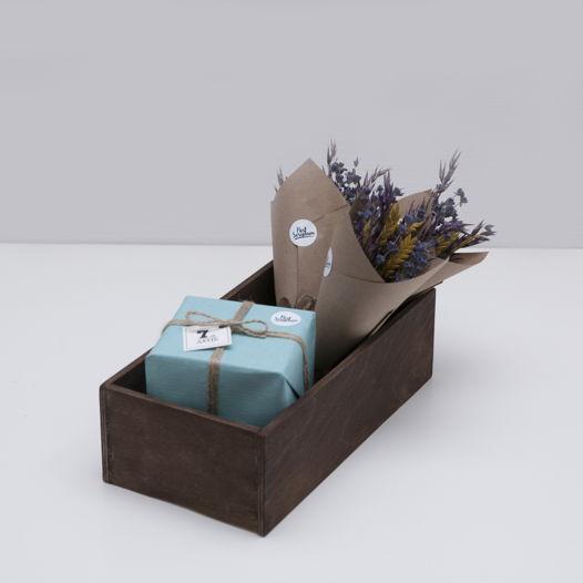 Деревянный сплошной ящик цвета палисандр Small rosewood