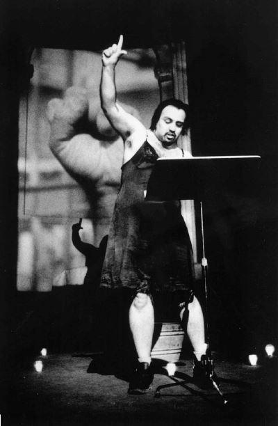 Luis Alfaro in performance <br> Photo by Monica Naranjo