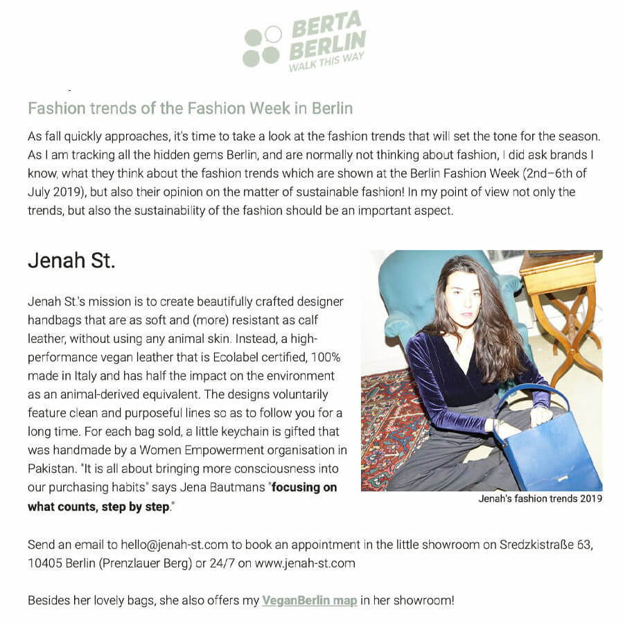 Fashion trends of the Fashion Week, Jenah St.  by Walk this way Berlin