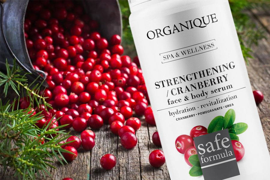 Strengthening Cranberry Face And Body Serum 100ml bottle with feeder from natural cosmetic brand Organique