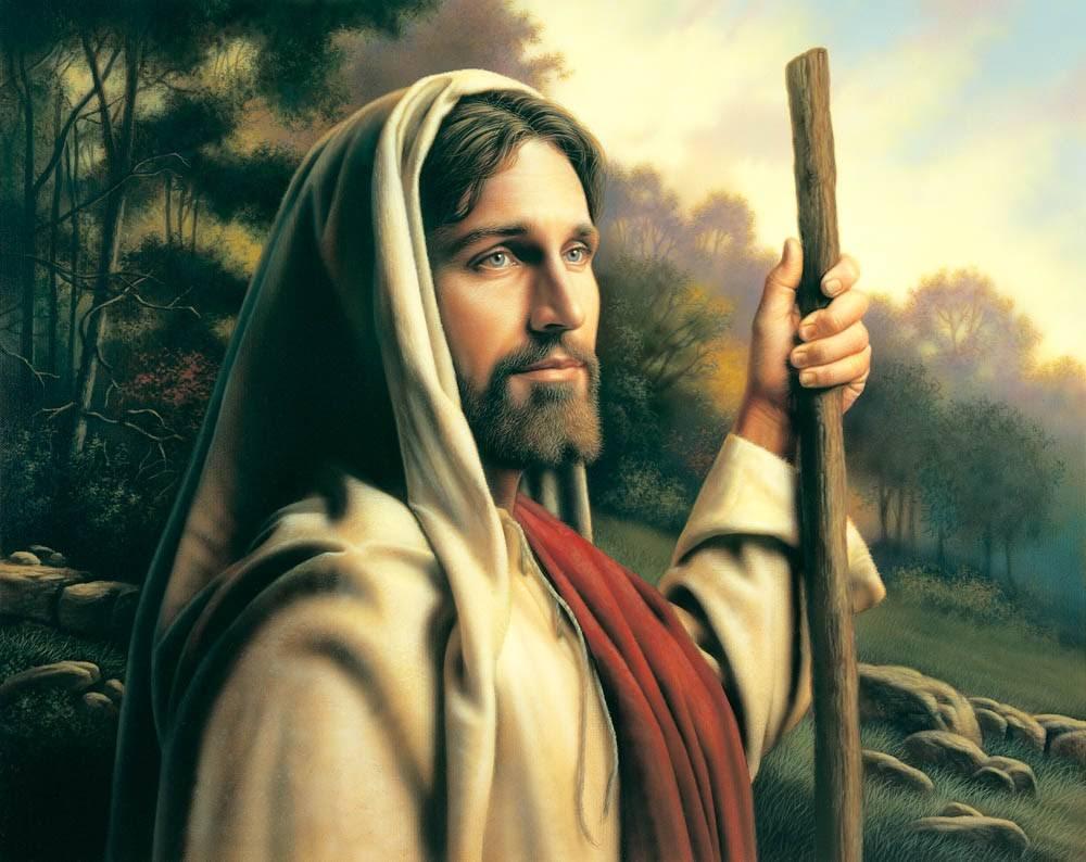 LDS art painting of Jesus holding a shepherd's staff.
