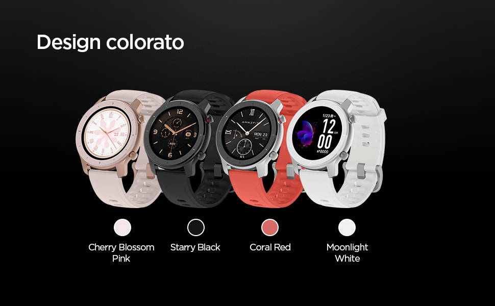 Amawfit GTR 42 mm - Design colorato: Cherry Blossom Pink | Starry Black | Coral Red | Moonlight White.