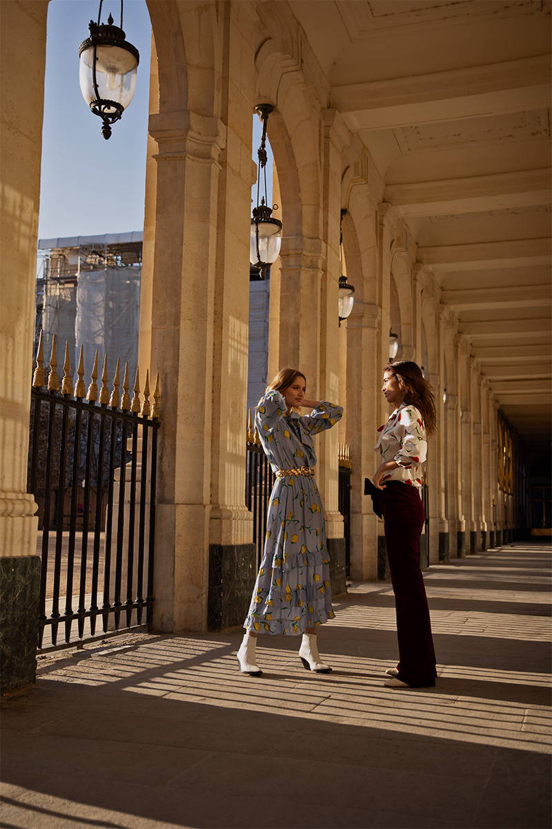 Philou Celaries and Charlotte Lemay pose in YOLKE's Daywear Collection in Paris