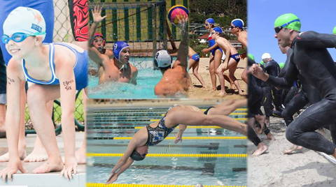 Swimmers and water polo players in a pool