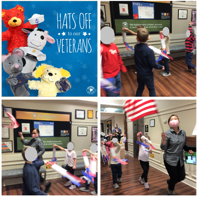 Collage of children and teacher waiving the American flag and decorations during their Veterans day parade