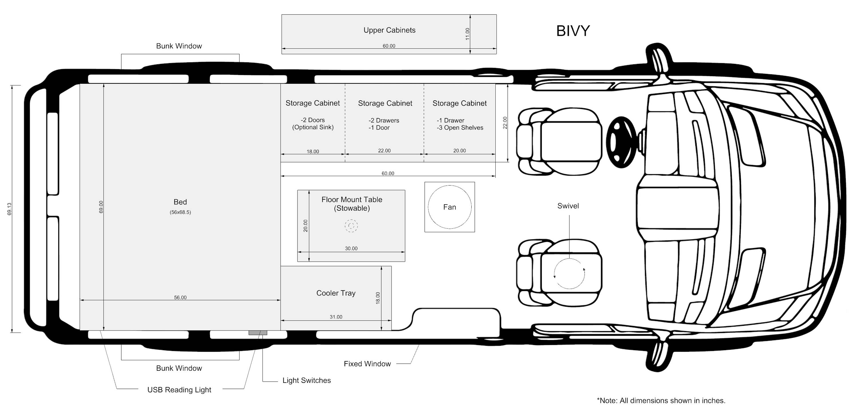 The Bivy - Sprinter 144 / ProMaster 136 Van Conversion Floor Plan and Interior Layout - The Vansmith
