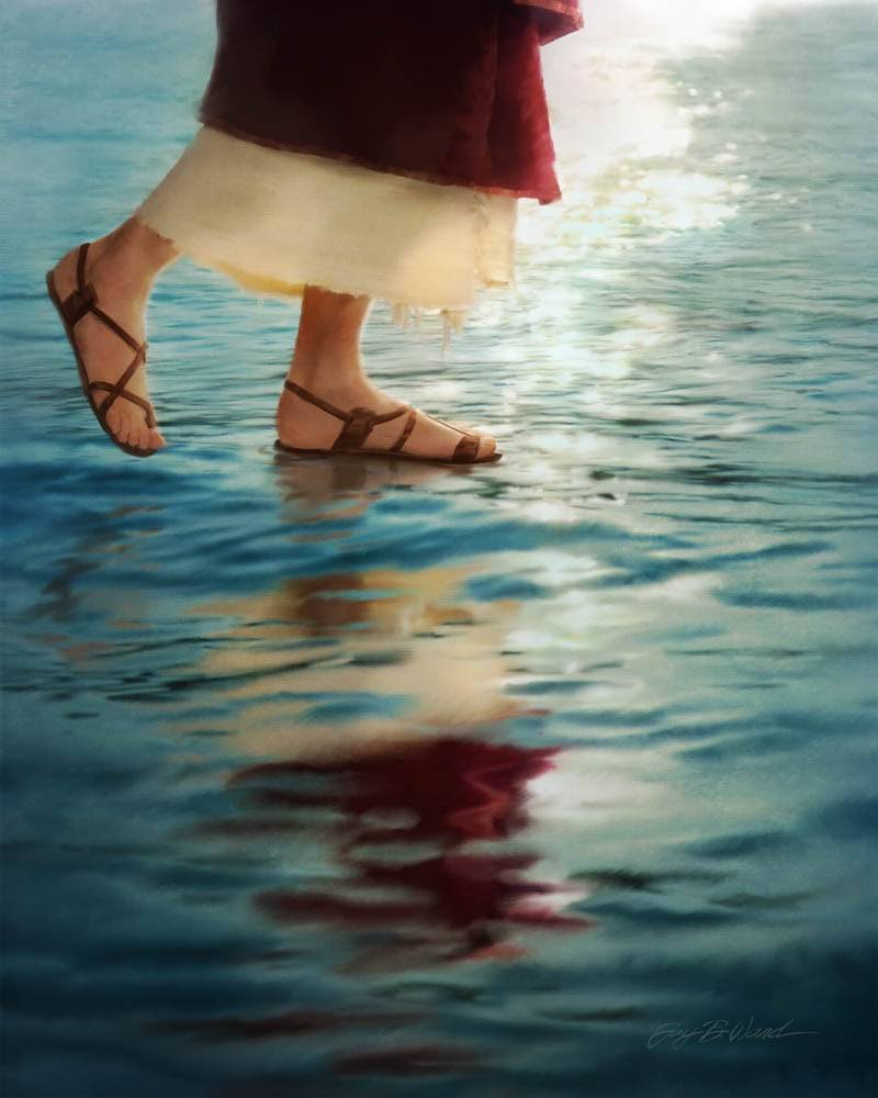 Vertical painting of Christ's feet walking on still waters.