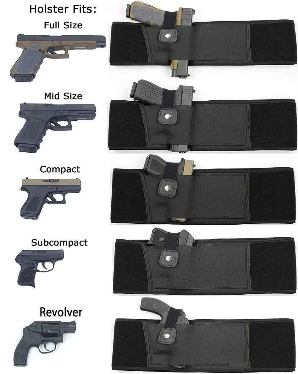 belly band holster fit all type of pistol such as full size pistol, mid size, compact, sub compact, revolver pistols.
