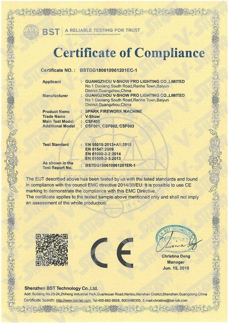 Spark Firework Machine Certificate of Compliance