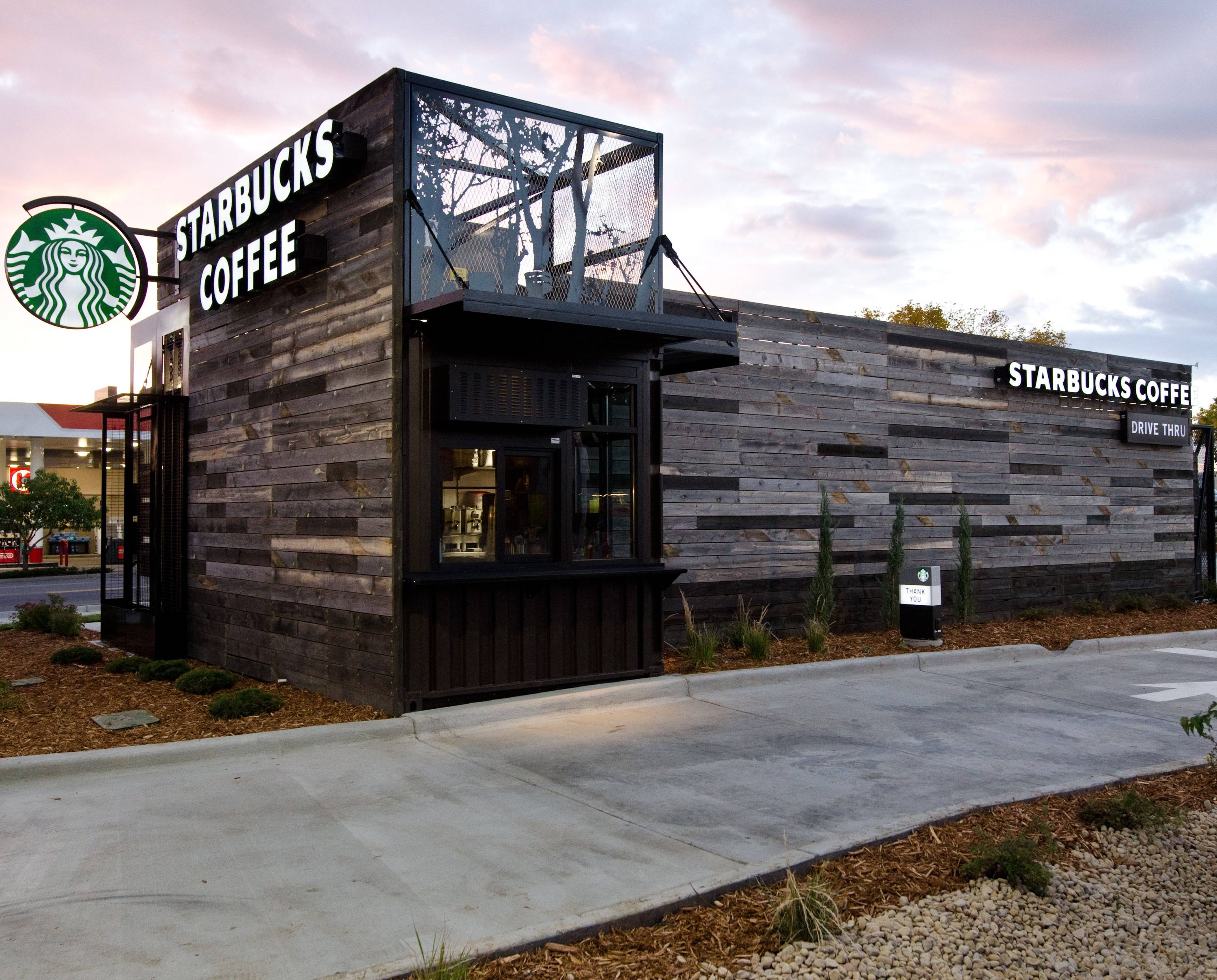 40 foot high cube shipping container Starbucks Drive Thru