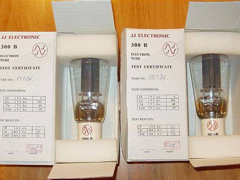 JJ  electronics 300B tubes brand new factory matched pair